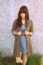 sky blue Forever 21 dress - light brown vintage coat