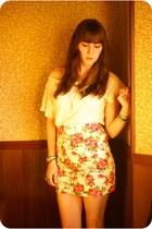 eggshell Kolhs shirt - salmon floral print Forever 21 skirt