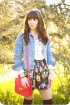 sky blue denim jacket jacket - white vintage shirt - hot pink Forever 21 bag - a