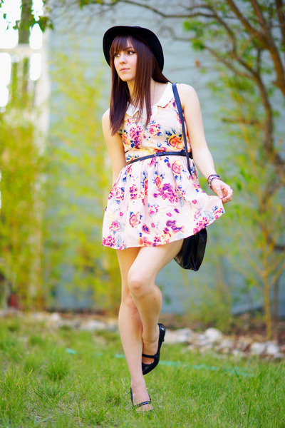 floral OASAP dress - H&M hat