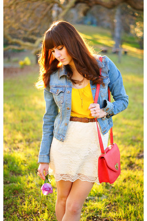 white lace Target skirt - sky blue denim sf jacket