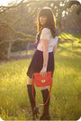 Hot-pink-leather-forever-21-bag-black-chiffon-vintage-skirt-white-lace-vinta