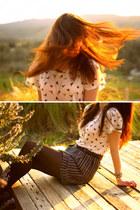 white bird pattern Forever 21 shirt - black Forever 21 skirt