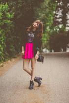 hot pink skater OASAP skirt