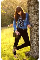 sky blue denim Walmart shirt - black velvet pants - camel leopard heels