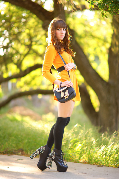 Sheinside dress - leather Jeffrey Campbell shoes - bow OASAP bag