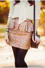 Mustard-sequin-nasty-gal-skirt-black-leather-h-m-bag