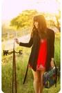 Red-embroidered-forever-21-dress-blue-60s-vintage-bag-black-woven-forever-21