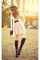 light pink lace Forever 21 dress - white long Forever21 coat