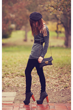 sequin OASAP sweater - leather Jeffrey campbells boots - velvet LC pants