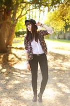 purple kimono Forever 21 blazer - black H&M hat - black velvet LC pants