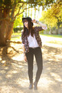 Black-h-m-hat-purple-kimono-forever-21-blazer-black-velvet-lc-pants