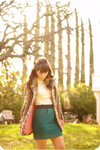 tan leopard print coat - teal Forever 21 skirt - ivory vintage lace blouse - gol