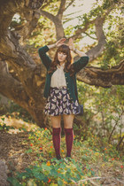 black cat print OASAP skirt - dark green vintage sweater