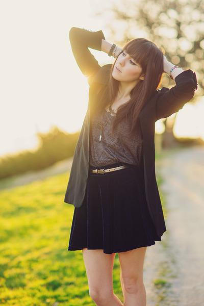navy velvet OASAP skirt - black spiked Zara blazer - heather gray shirt