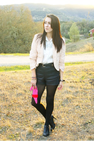 black leather Forever 21 shorts - black shoes - light pink lace H&M blazer