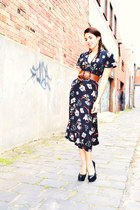 carrot orange floral dress Sportsgirl dress - black black pumps Wittner heels