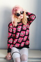 hot pink OASAP sweater - white OASAP leggings