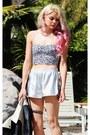 Silver-oasap-shorts-black-victorias-secret-pink-bra-black-unif-heels
