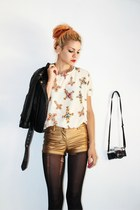Oasapcom blouse - faux leather Charlote Russe jacket - metallic Forever21 shorts
