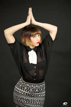 black Primark shirt - ethnic H&M skirt