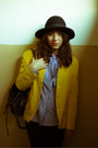 Primark-hat-vintage-blazer-moschino-shirt-wrangler-bag-moschino-pants