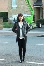 leather jacket vintage jacket - white shirt H&M shirt - shoes Zara flats