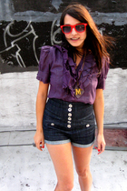 purple To Luv Kuvaa blouse - black Jeffrey Campbell shoes - blue alloy shorts