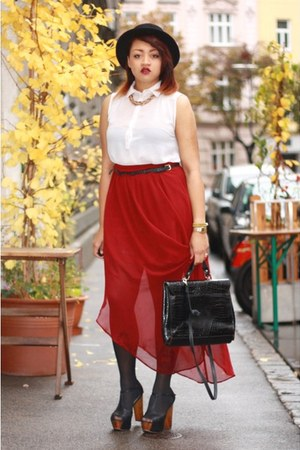 maxi skirt Forever 21 skirt - H&M hat - Nelly heels - H&M blouse
