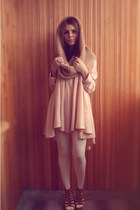 neutral H&M dress - camel handmade scarf - bubble gum marmalato ring - bronze bo
