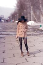 camel Anne Michelle Revenge boots - camel camaieu coat - black asos hat - beige