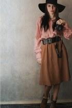 camel Anne Michelle Revenge boots - black asos hat - red USSR shirt - camel Mang