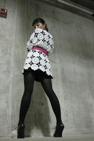 thrifted sweater - f21 top - f21 skirt - f21 tights - Pleaser shoes - vintage be