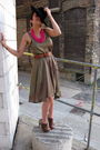 Green-h-m-dress-brown-nicholas-kirkwood-shoes-black-vintage-hat-brown-vint