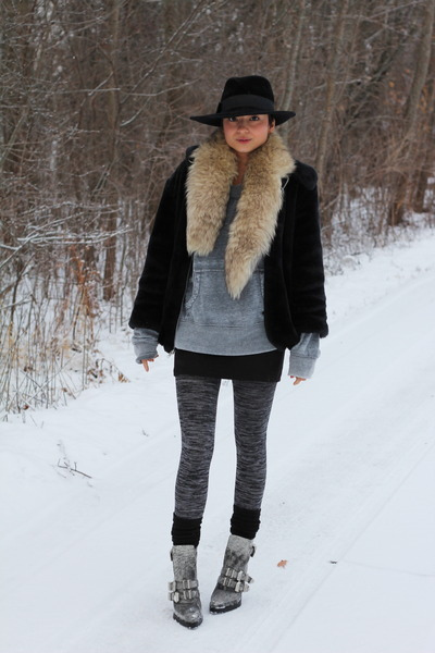 Alexander Wang boots - thrifted coat - Forever 21 leggings - vintage scarf