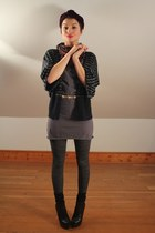black Bebe shoes - gray American Apparel dress - deep purple turban vintage hat