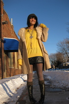 yellow sweater - black Cole Haan boots - beige thrifted coat - gray tights