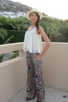 silk print Zara pants - silk new look blouse