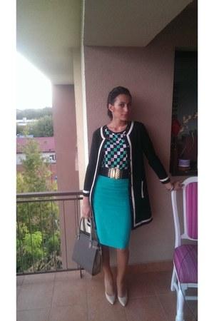 Zara coat - Musette bag - blouse - Musette heels - vintage skirt