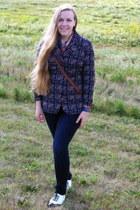 navy Charlotte Russe jeans - navy vintage jacket - bronze vintage blouse