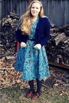 navy vintage sweater - turquoise blue vintage dress