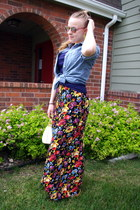 yellow vintage pants - sky blue Old Navy blouse