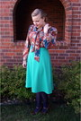Aquamarine-vintage-pykettes-skirt-tawny-vintage-blouse