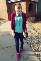 hot pink Gap shoes - magenta Target cardigan - aquamarine TJ Maxx top