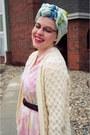 Light-pink-vintage-dress-light-blue-vintage-scarf-ivory-vintage-cardigan