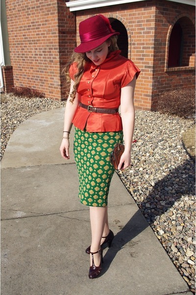 ruby red vintage hat - teal Anthropologie skirt - carrot orange vintage blouse