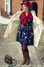 Camel-sears-boots-navy-target-dress-white-old-navy-coat-maroon-vintage-hat