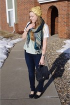 teal gifted scarf - navy Charlotte Russe jeans - gold vintage hat