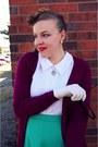 Aquamarine-vintage-skirt-maroon-target-cardigan