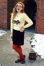 Crimson-vintage-dress-cream-vintage-sweater-burnt-orange-target-tights